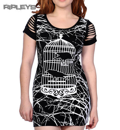 BANNED Goth MINI DRESS T Shirt Top BIRD CAGE Crows Slash Goth All Sizes